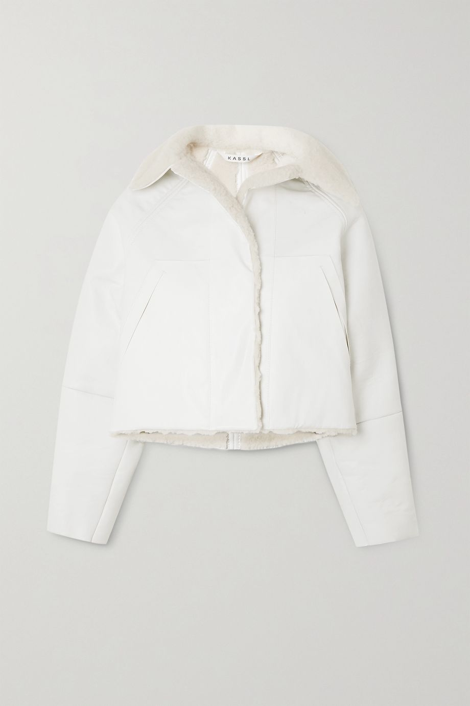 Kassl Editions Reversible cropped coated cotton-blend and shearling coat