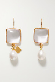 Loulou de la Falaise Gold-plated, glass and pearl earrings