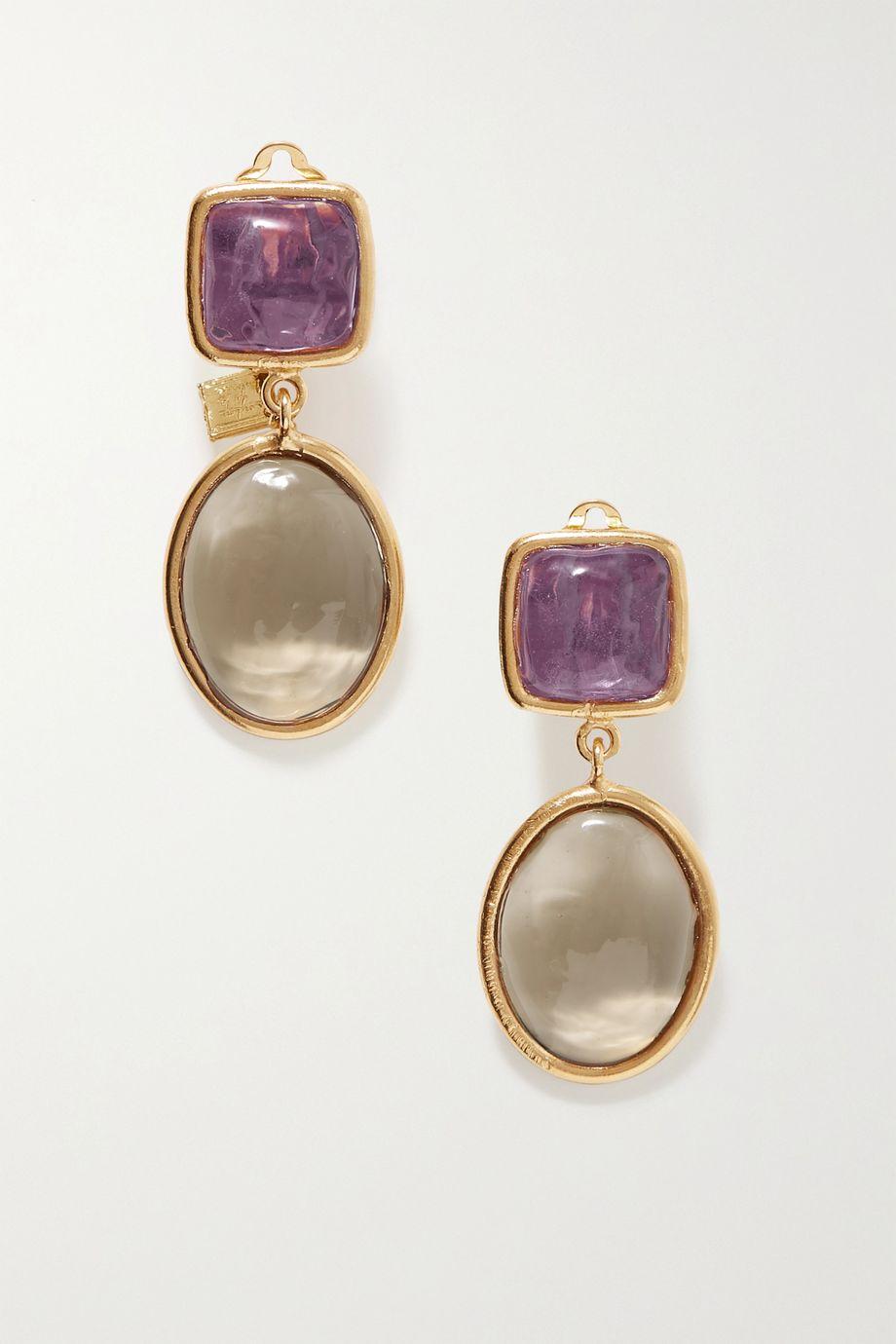 Loulou de la Falaise Gold-plated glass clip earrings