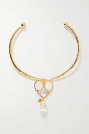Loulou de la Falaise Gold-plated, glass and crystal choker