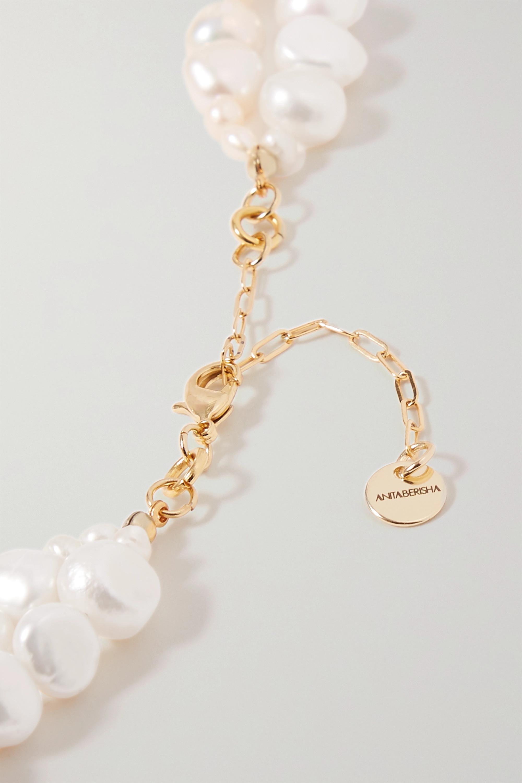 Anita Berisha Perlenkette mit Quarzen und goldfarbenen Details