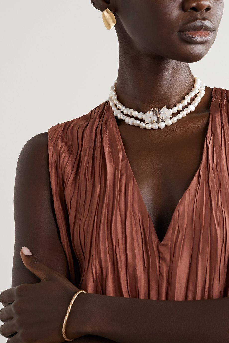 Anita Berisha Gold-tone, pearl and quartz necklace