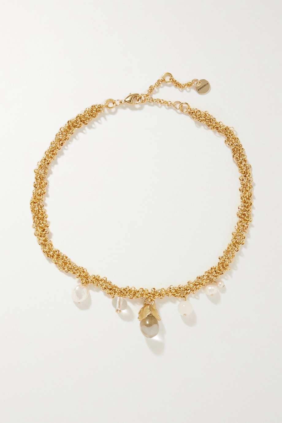 Anita Berisha Droplet gold-plated, pearl and crystal necklace