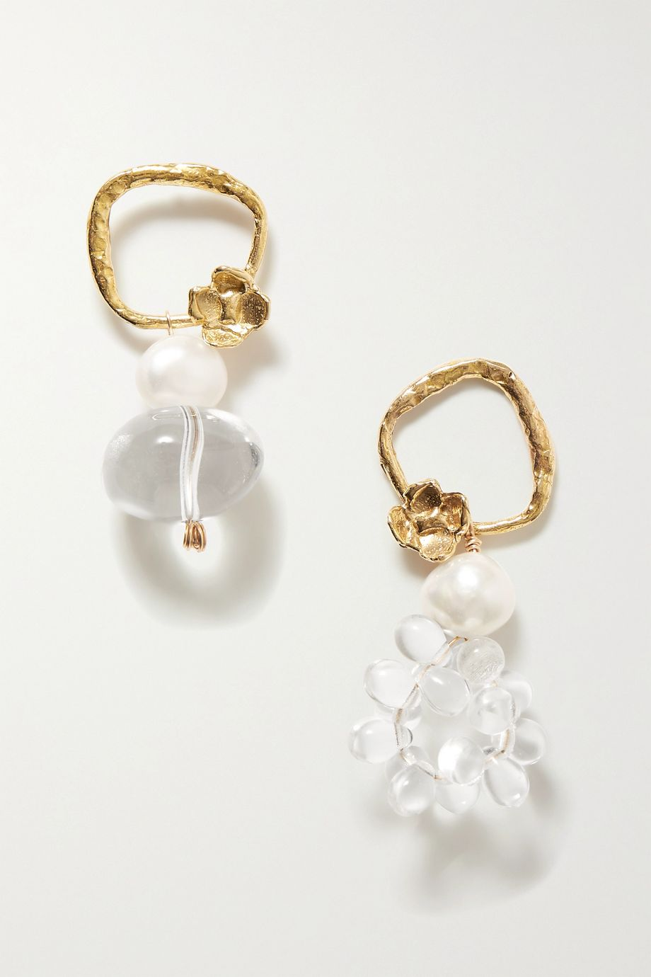 Anita Berisha Water Drops gold-tone, quartz and pearl earrings