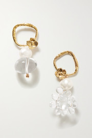 Water Drops gold-tone, quartz and pearl earrings
