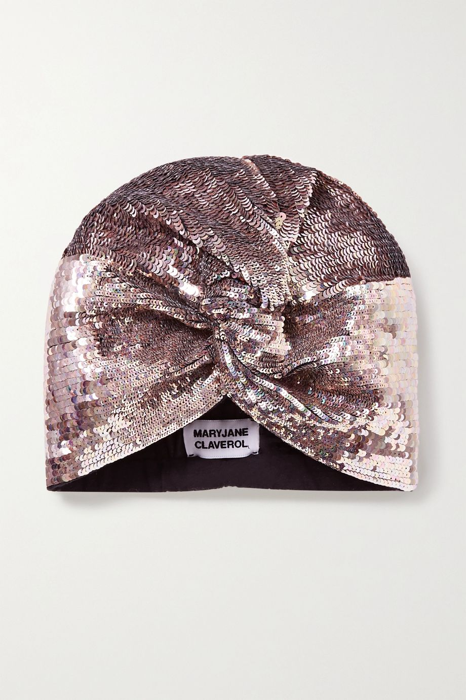 MaryJane Claverol Adele sequined stretch-cotton turban
