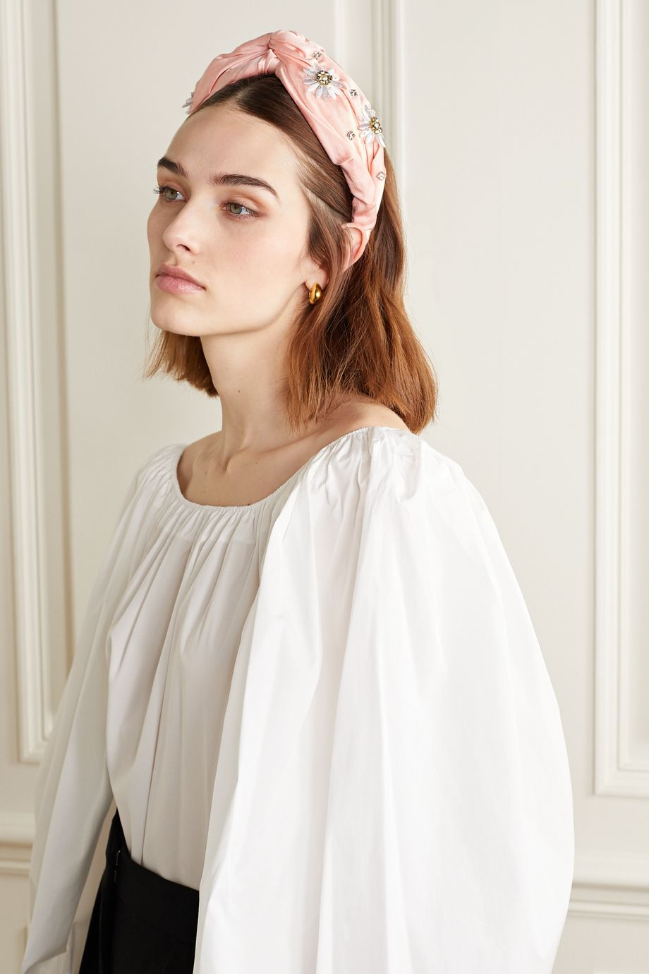 MaryJane Claverol Nereid knotted embellished satin headband