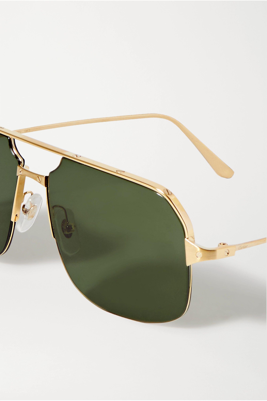 Cartier Eyewear Santos aviator-style gold-tone sunglasses