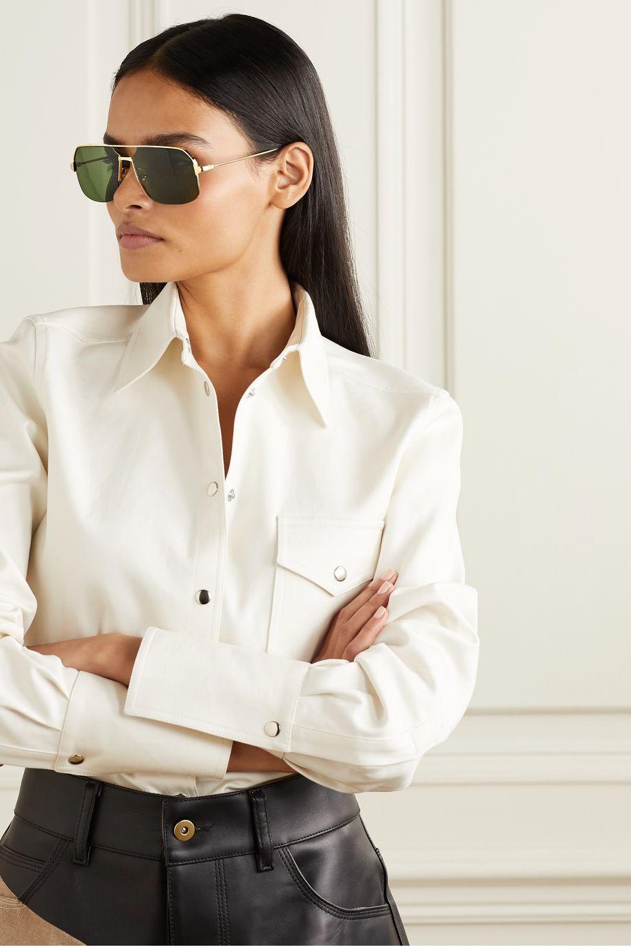 Cartier Eyewear Santos goldfarbene Pilotensonnenbrille