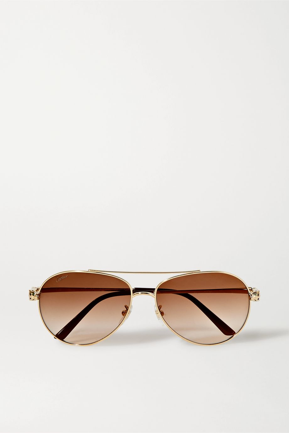 Cartier Eyewear Panthère aviator-style gold-tone and acetate sunglasses