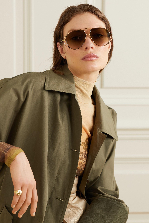 Loewe Aviator-style gold-tone and tortoiseshell acetate sunglasses
