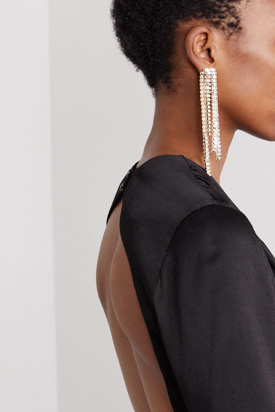 Rosantica Barlume crystal and gold-tone clip earrings