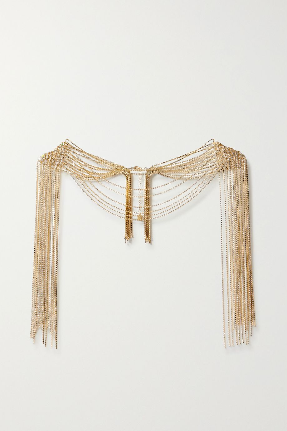 Rosantica Diva fringed gold-tone crystal body chain