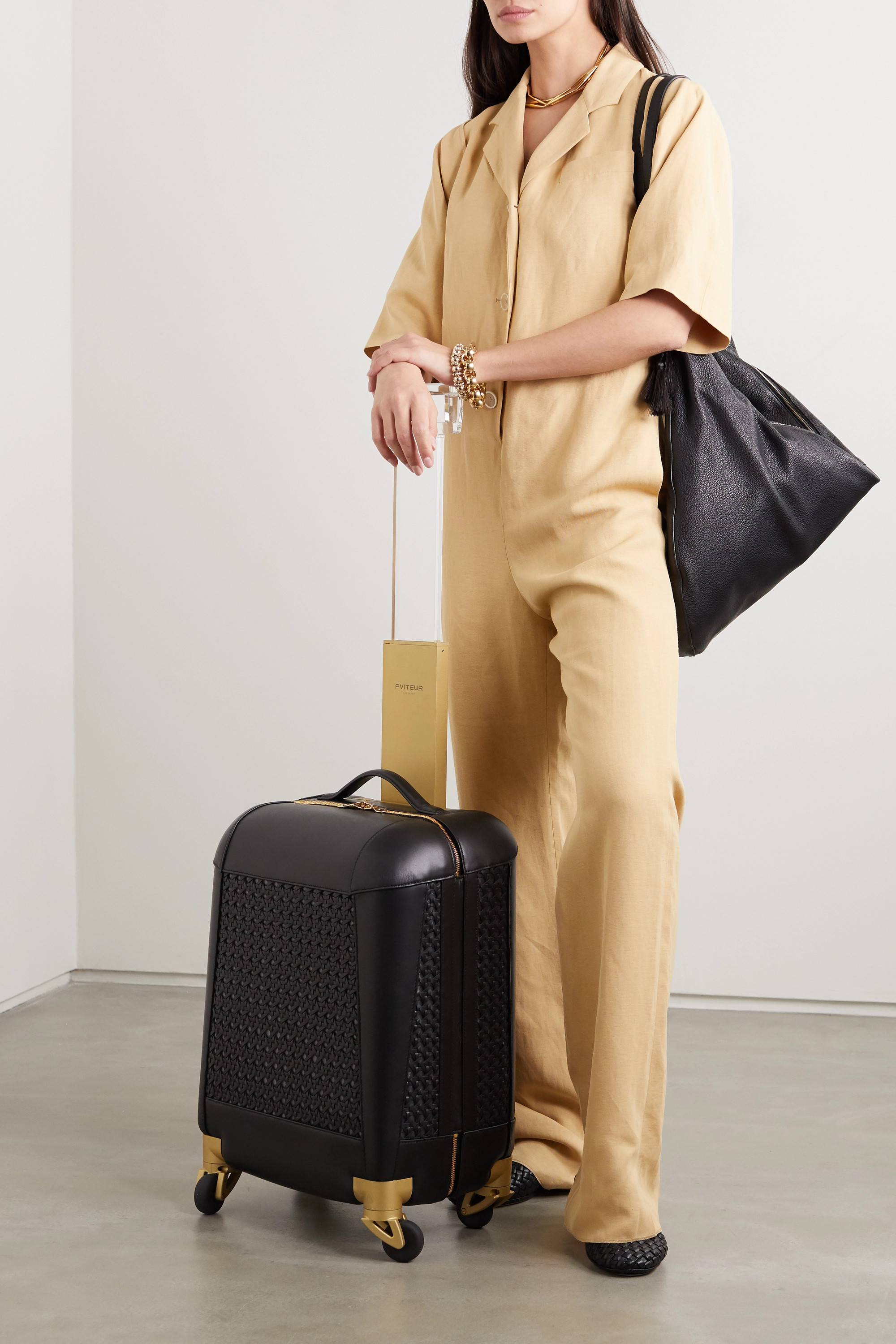 Aviteur Paneled woven leather carry-on suitcase
