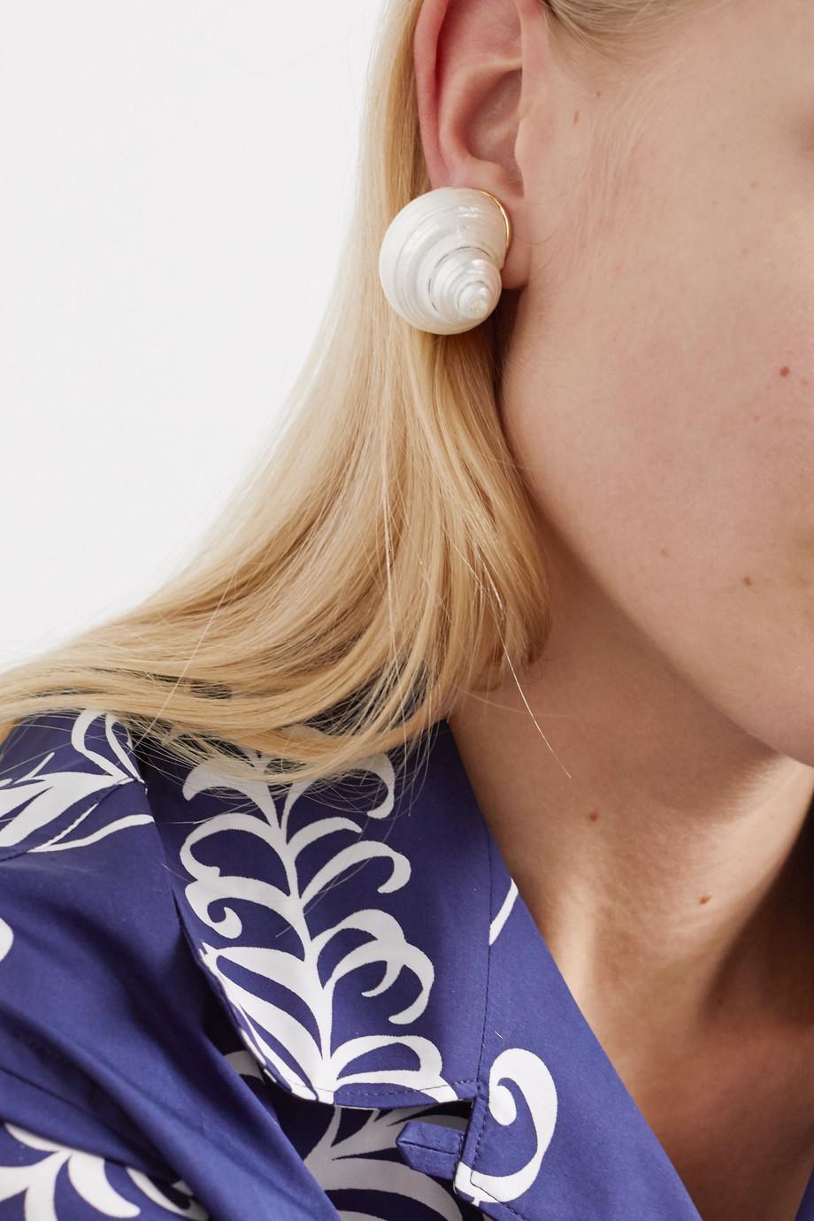 Prada Gold-tone and shell clip earrings