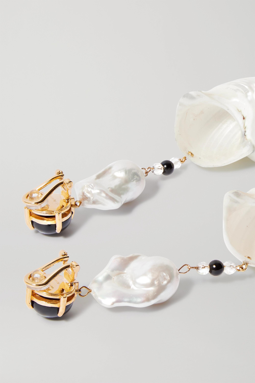 Prada Boucles d'oreilles clip en métal doré, coquillages, perles multiples et onyx