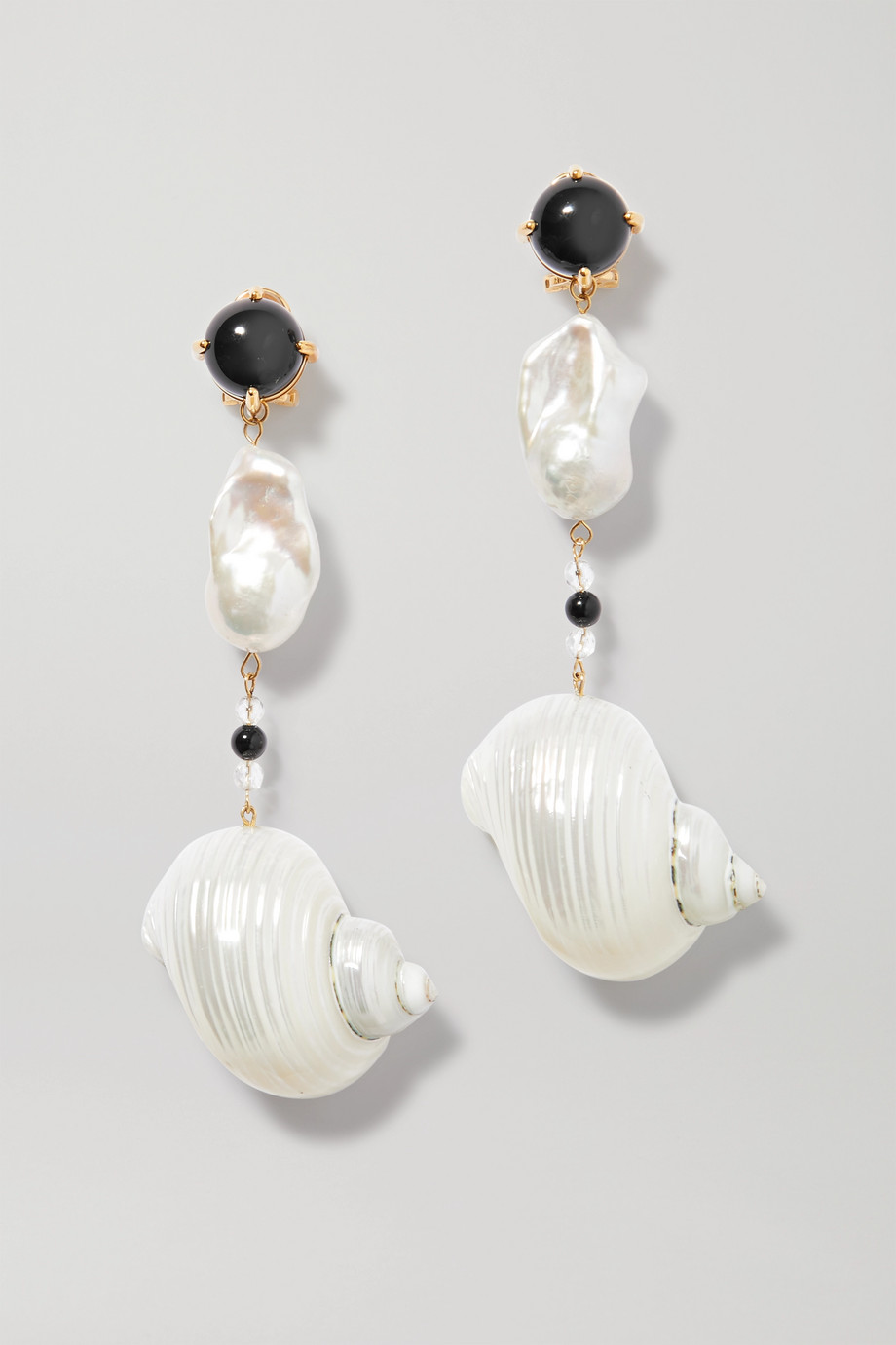 Prada Gold-tone shell, pearl and onyx clip earrings