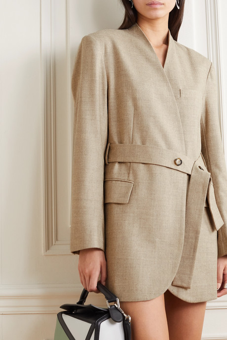 Belted wool-blend wrap blazer