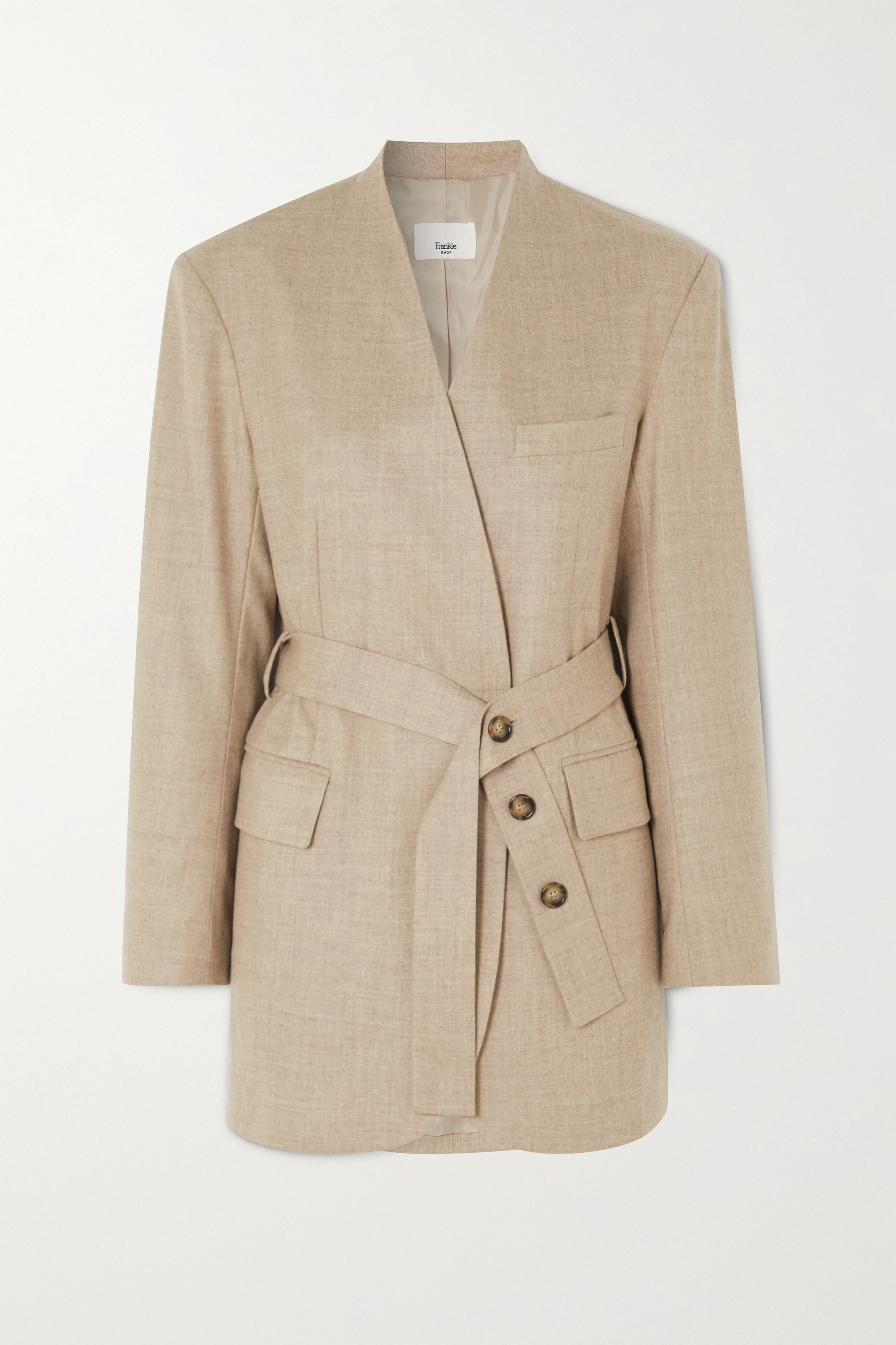 Frankie Shop Belted wool-blend wrap blazer