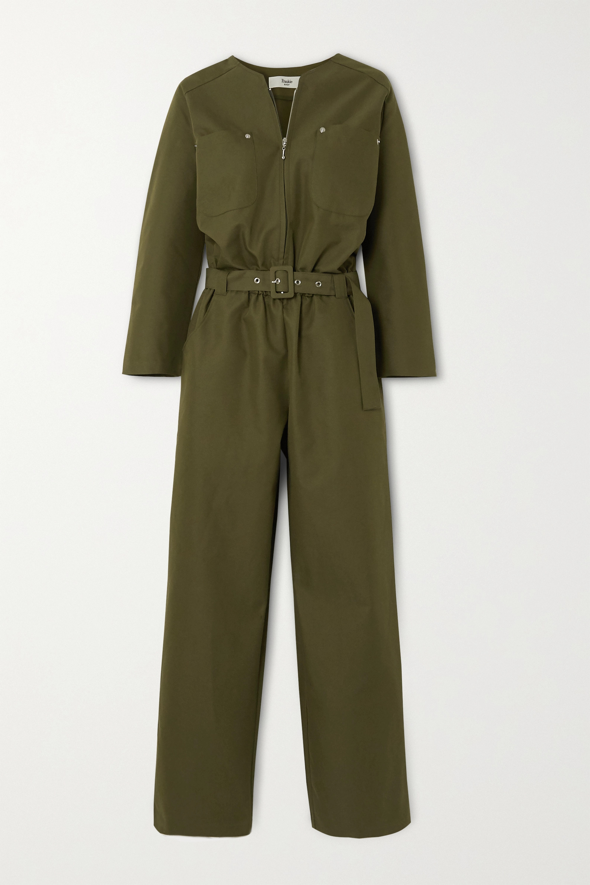 Frankie Shop Eve belted cotton-blend jumpsuit