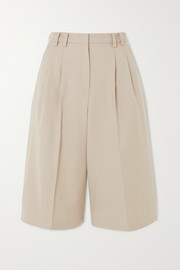 Suzanne pleated Tencel-blend shorts