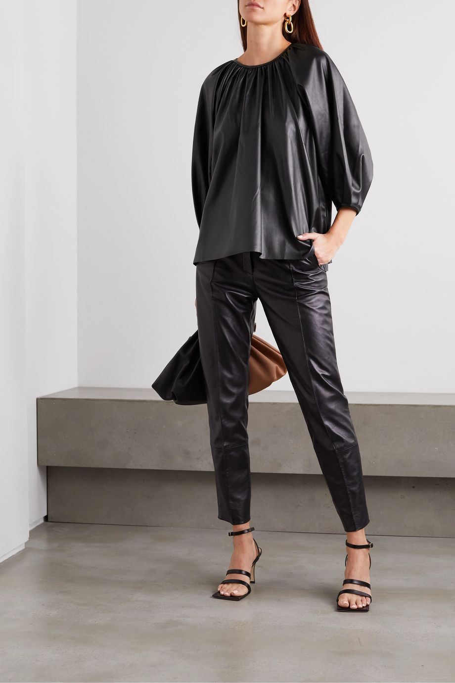 Frankie Shop Gathered faux leather top