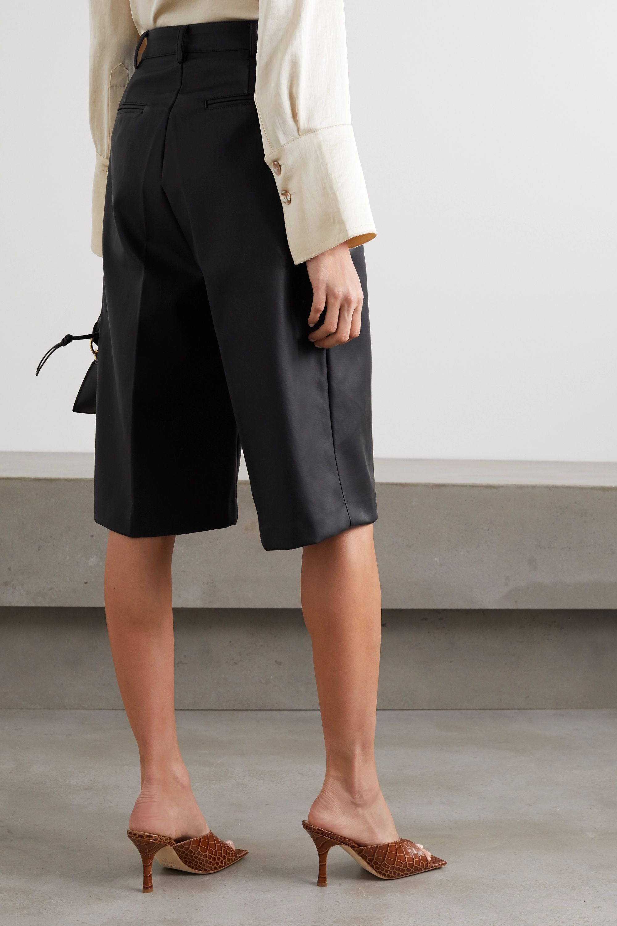 Frankie Shop Pernille pleated faux leather shorts