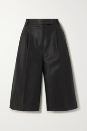 Pernille pleated faux leather shorts