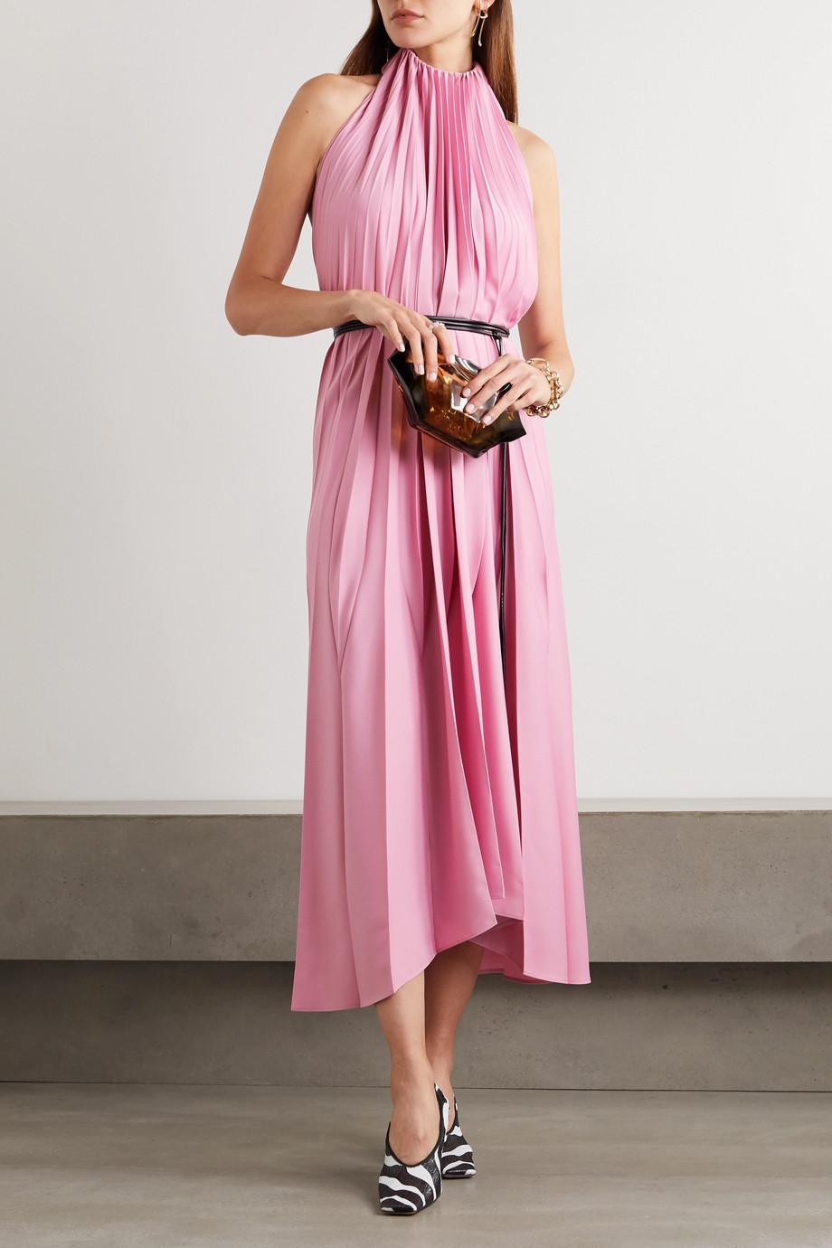 Ellery The Great belted pleated crepe halterneck midi dress