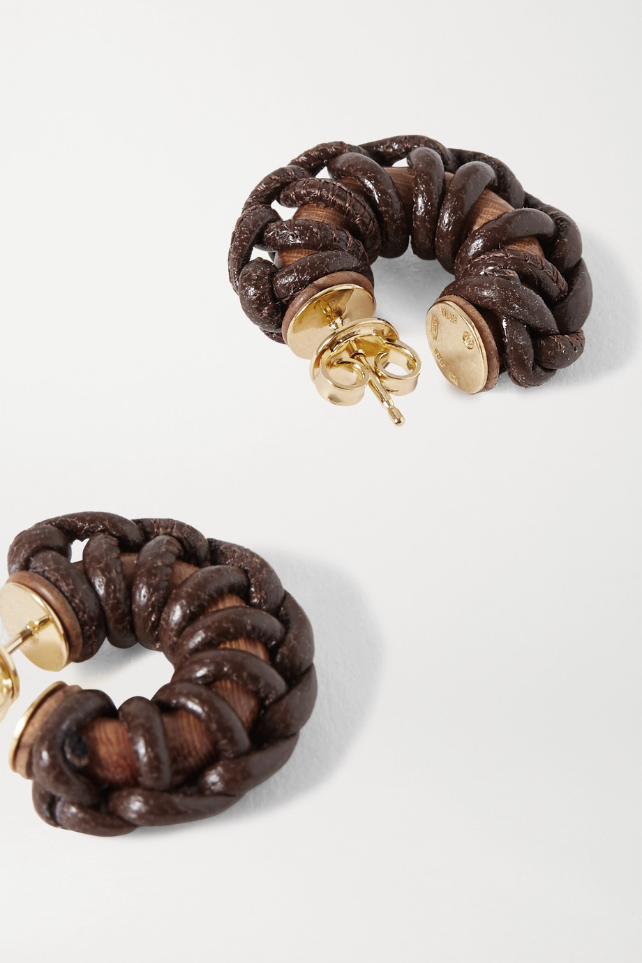 Bottega Veneta Leather, wood and gold-tone earrings
