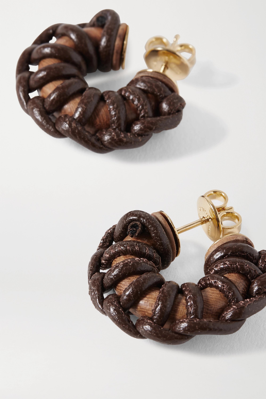 Bottega Veneta Leather, wood and gold-tone earrings