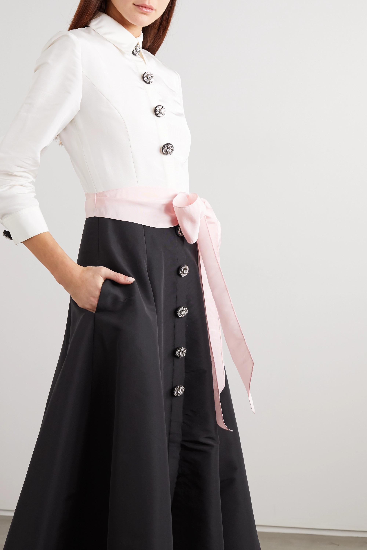 Black Belted Two-tone Silk-faille Gown | Carolina Herrera