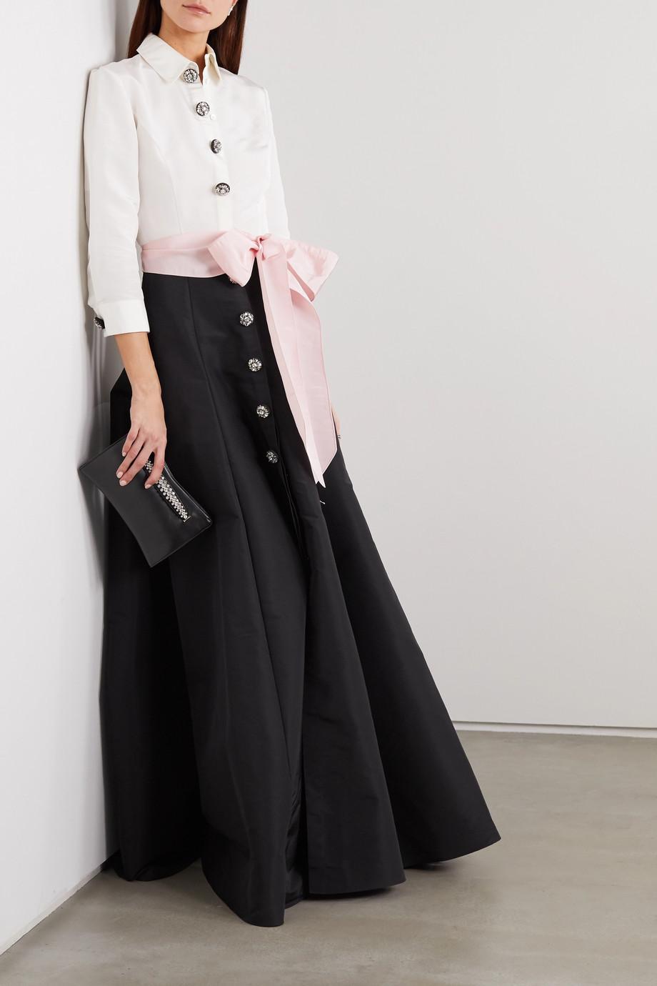 Carolina Herrera Belted two-tone silk-faille gown
