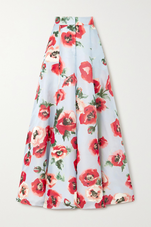 Carolina Herrera Floral-print silk-organza wide-leg pants