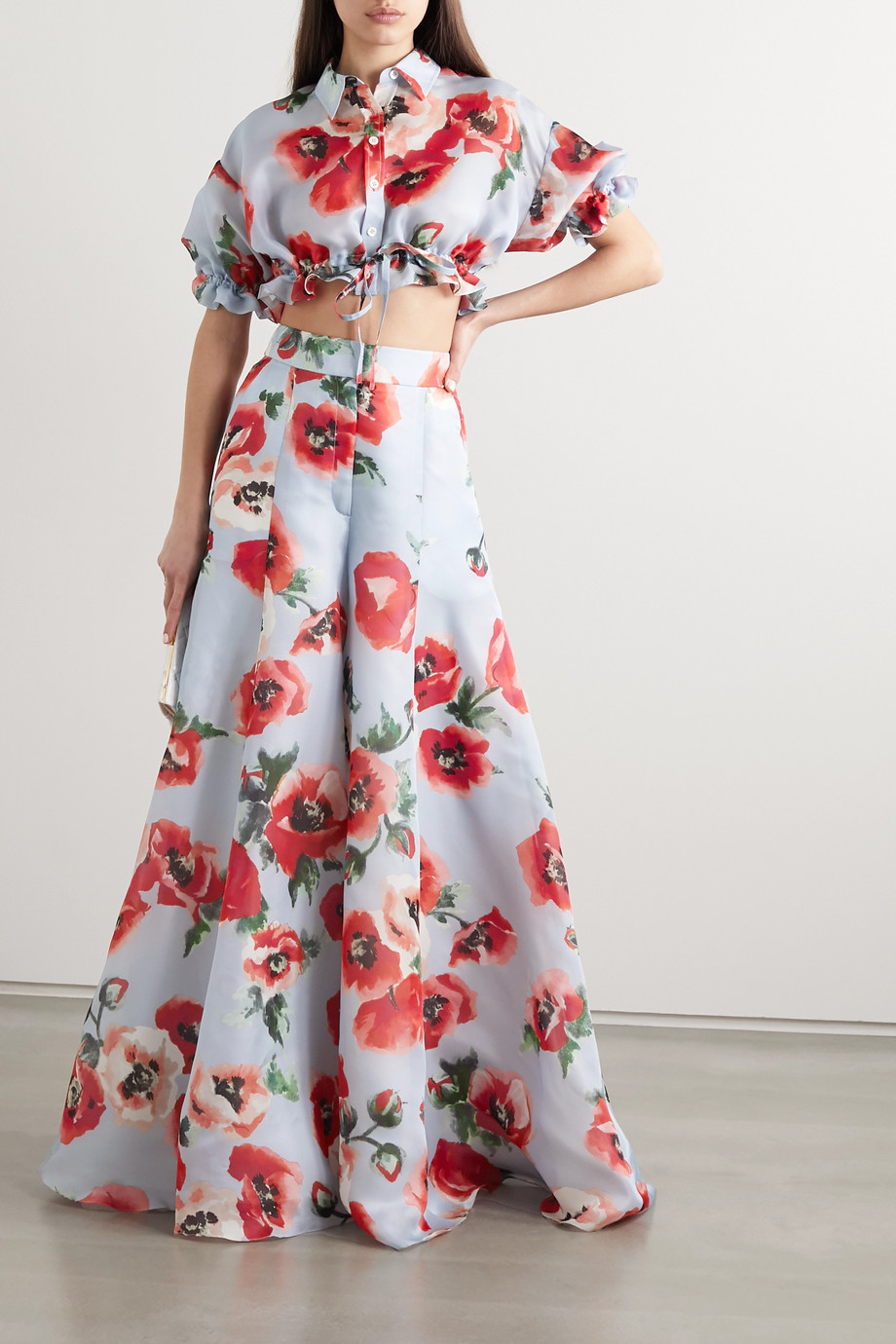 Carolina Herrera Pantalon large en organza de soie à imprimé fleuri