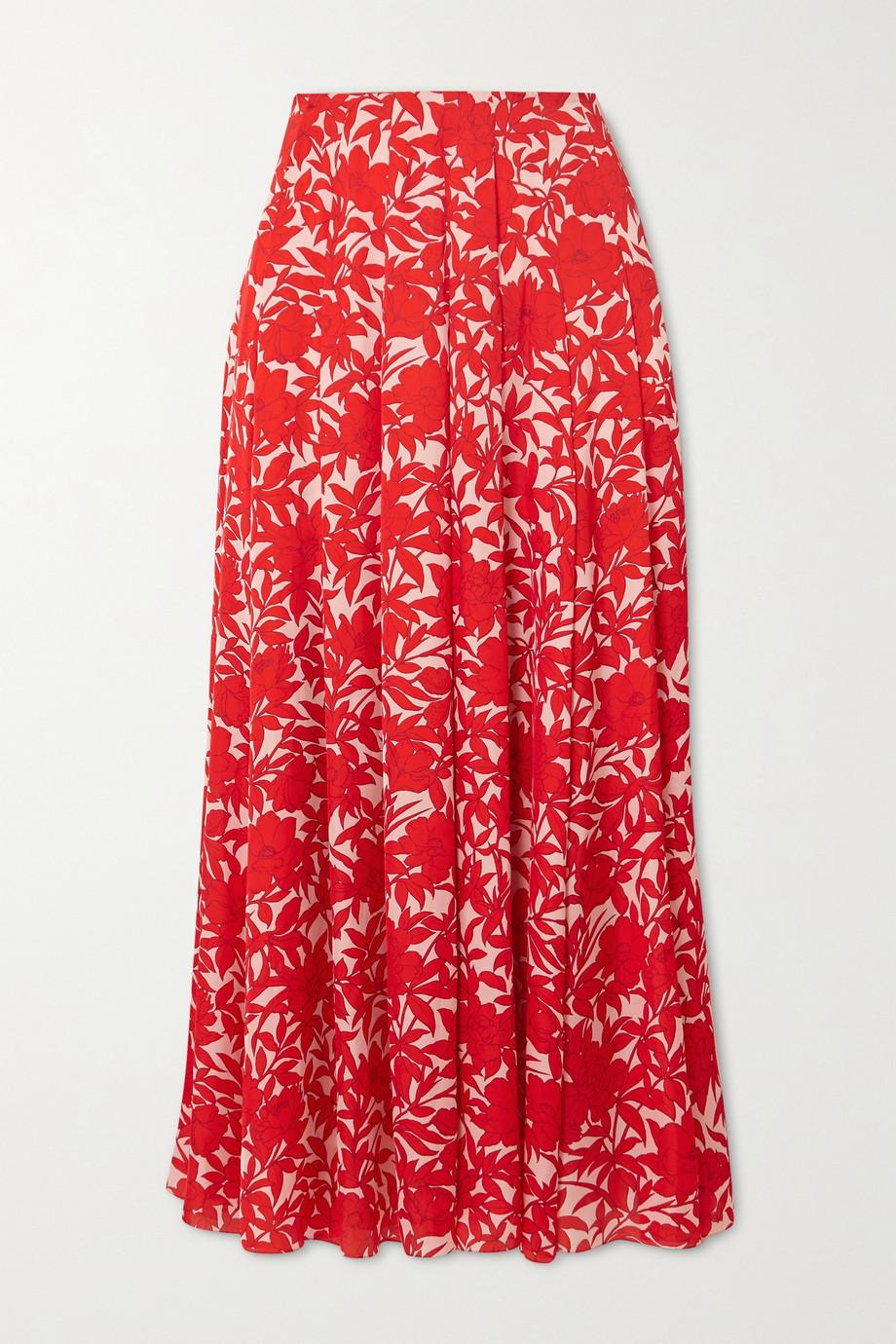Carolina Herrera Pleated floral-print satin midi skirt
