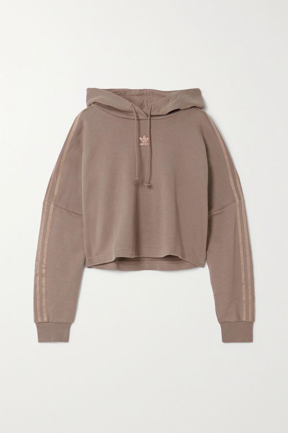 adidas Originals Sweat à capuche raccourci en molleton de coton à rayures métallisées