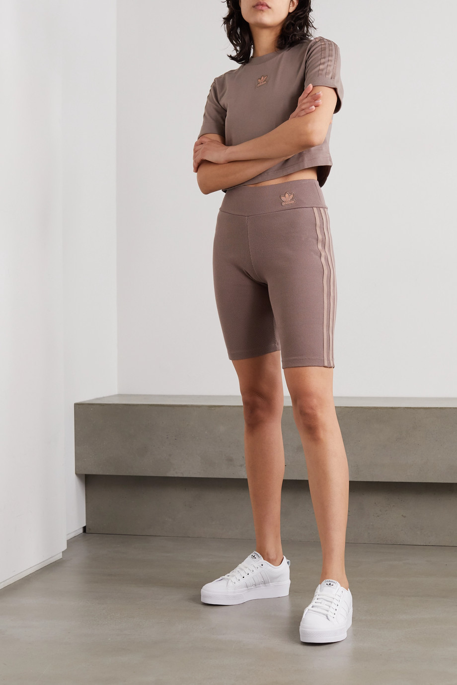 adidas Originals Metallic-striped ribbed stretch cotton-jersey shorts