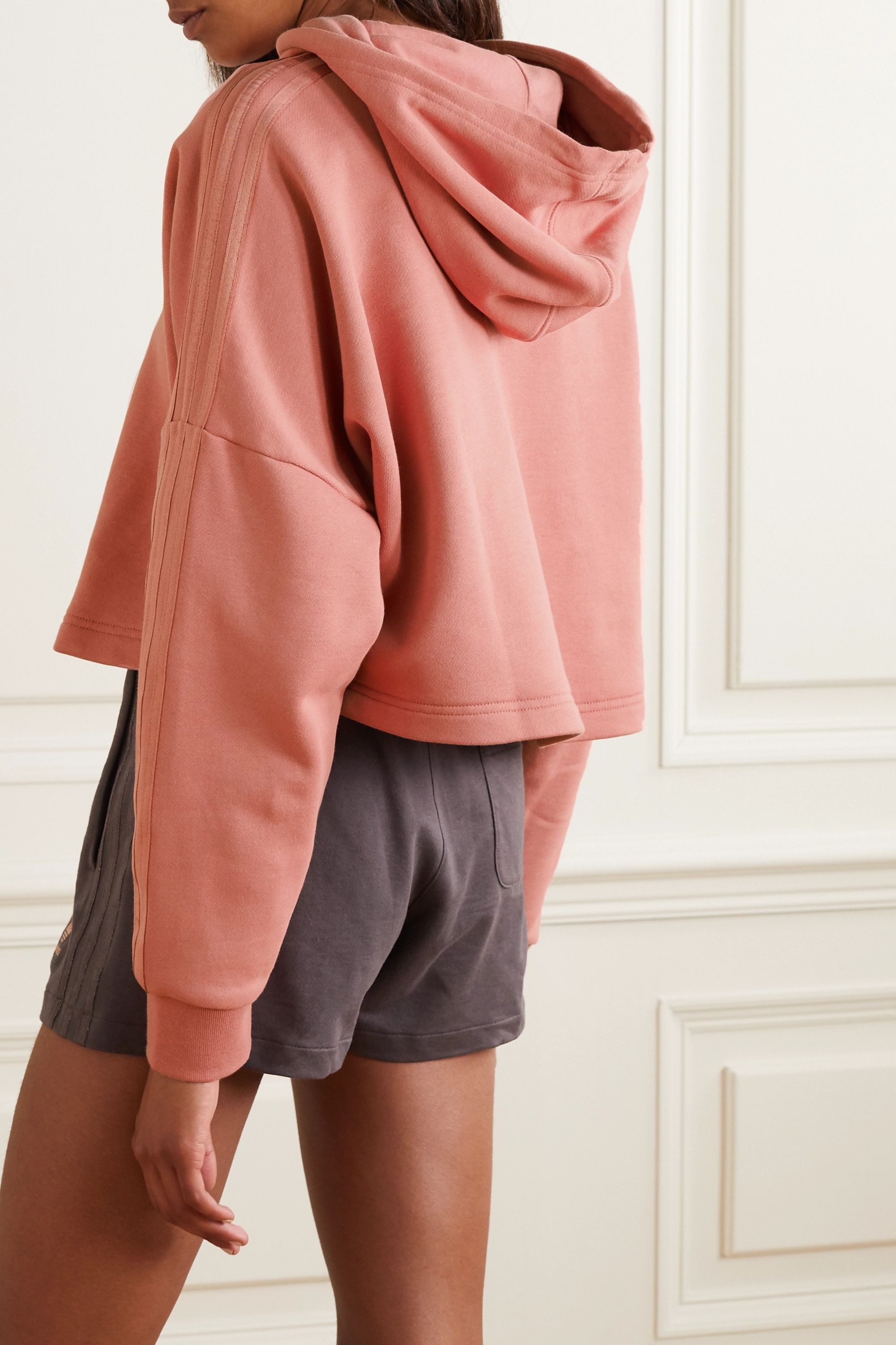 adidas Originals Cropped metallic-striped French cotton-terry hoodie