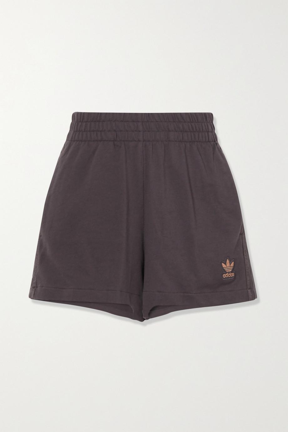 adidas Originals Shorts aus Baumwollfrottee mit Metallic-Streifen