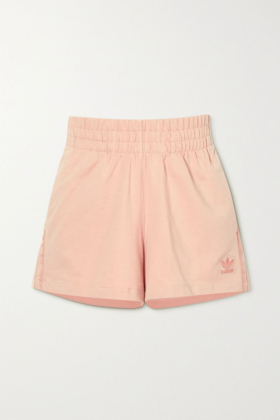 adidas Originals Metallic-striped French cotton-terry shorts