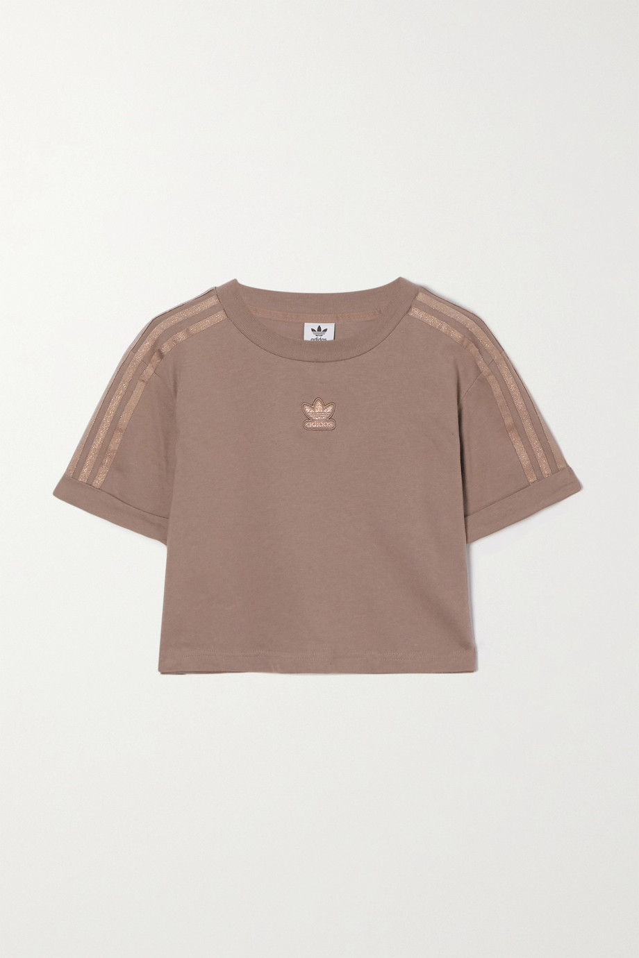 adidas Originals Cropped metallic-striped cotton-jersey T-shirt