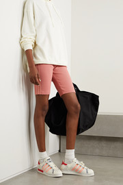 adidas Originals Striped ribbed cotton-blend jersey shorts