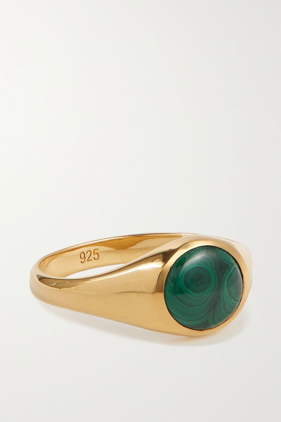 Rasa x Anna Beck Kleiner vergoldeter Ring mit Malachit