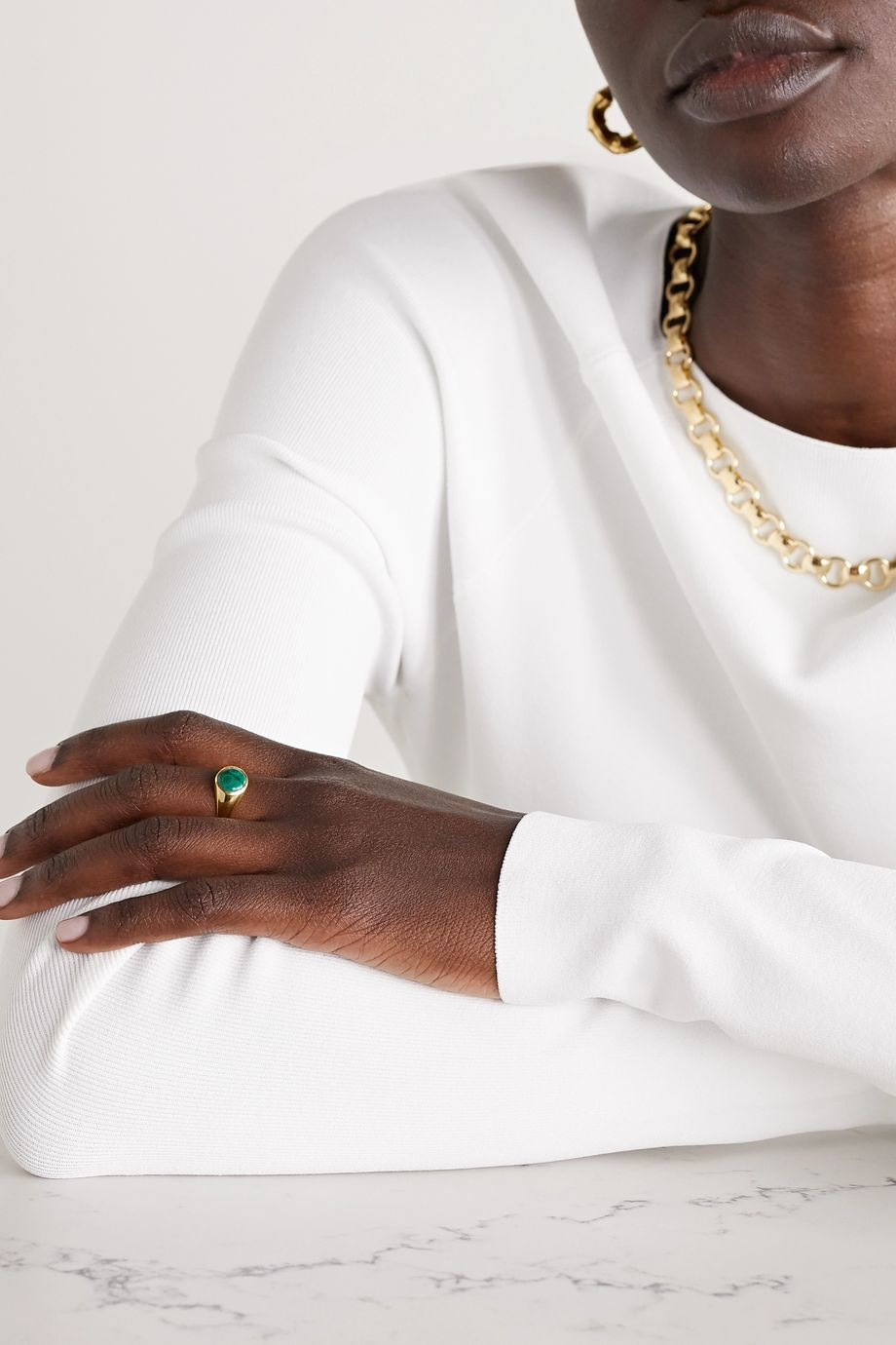 Rasa x Anna Beck Small gold-plated malachite ring