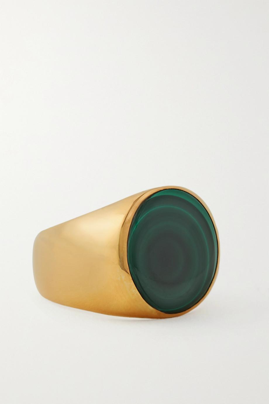 Rasa x Anna Beck Großer vergoldeter Ring mit Malachit