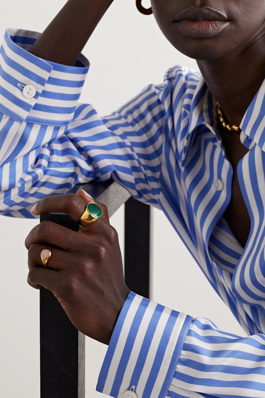 Rasa x Anna Beck Large gold-plated malachite ring