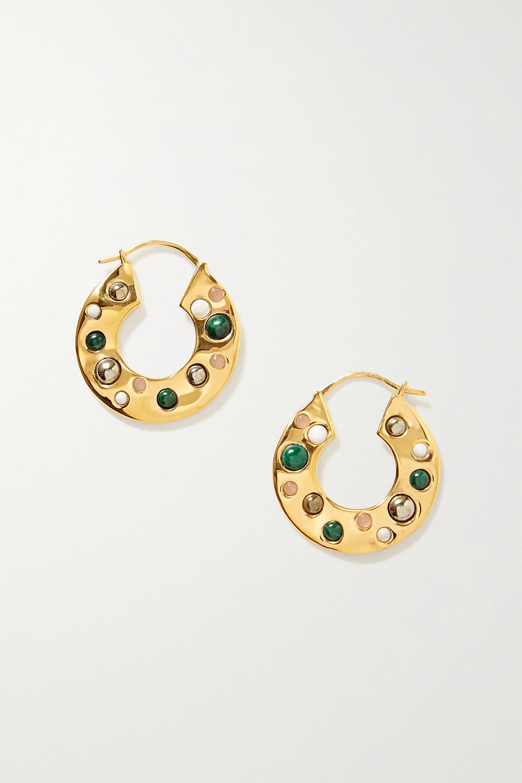 Rasa x Anna Beck Gold-plated multi-stone hoop earrings