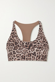 Beach Riot Rocky leopard-print stretch-jersey bra top