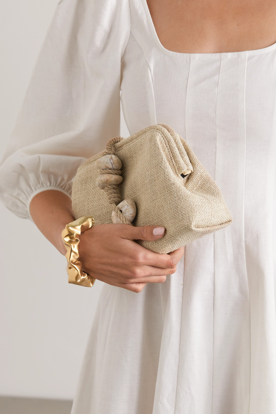 Serena Uziyel Petra embellished linen clutch